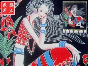 chinese batik art  mural painting- pick flower girl