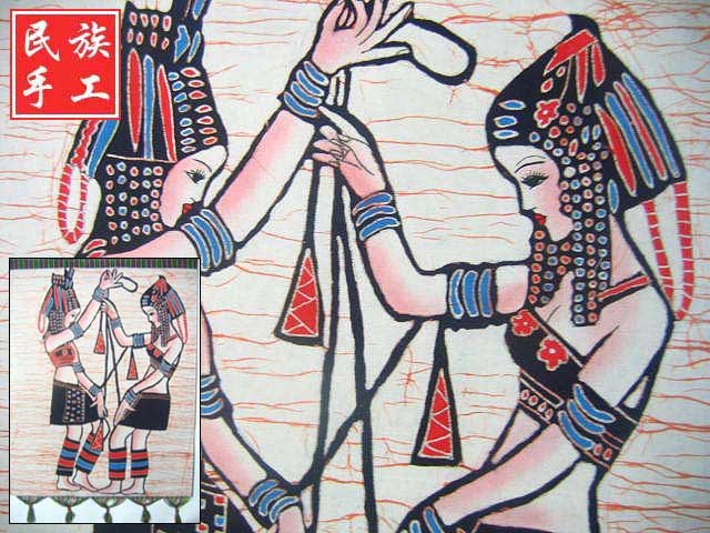 chinese batik art mural painting, wall hanging-dancing girls
