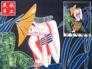 chinese batik art mural painting, wall hanging-have a break