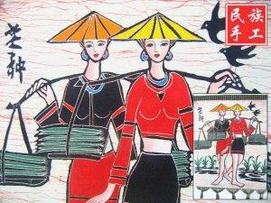 chinese batik art mural painting, wall hanging-grain in ear