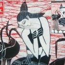 chinese batik art mural painting, wall hanging-the longly girl