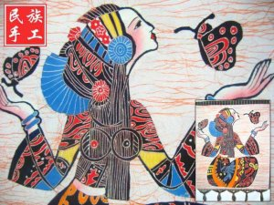 chinese batik art mural painting, wall hanging-Dance with butterfly