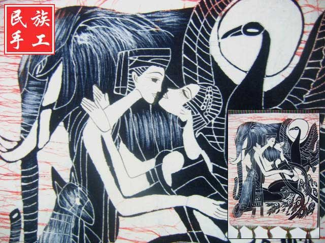 chinese batik art mural painting, wall hanging-Reunion after long separation