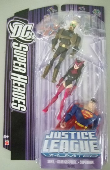 DC SuperHeroes Justice League Unlimited - Sand, Star Sapphire and Superman Action Figure 3-Pack