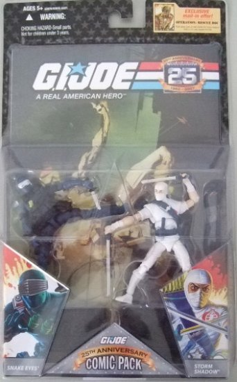 GI JOE 25TH ANNIVERSARY COMIC PACK - SNAKE EYES AND STORM SHADOW ACTION FIGURE 2 - PACK