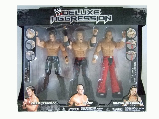 WWE Deluxe Aggression Exclusive - Chris Jericho, Kane and Shawn Michaels Action Figure Multi-Pack