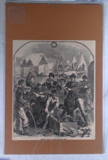 1861 Civil War WoodEngraved Winslow Homer Xmas Camp