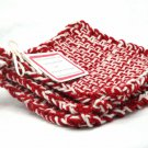 Potholders Retro Red and White Woven