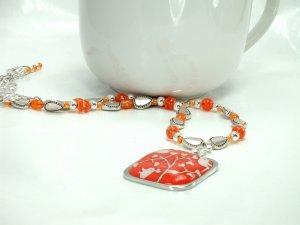 Orange Pendant Beaded Necklace