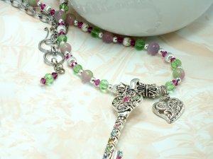 Key Pendant on Beaded Necklace