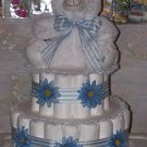 BLUE DAISIES 3 TIER DIAPER CAKE