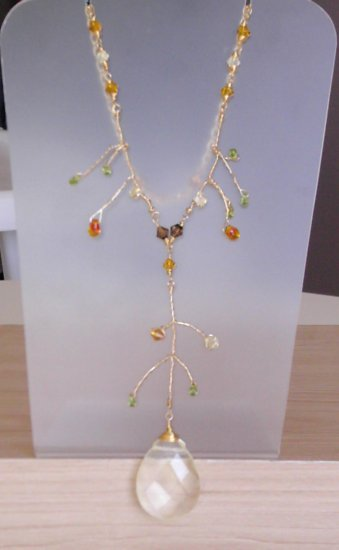 Gold branch wire necklace