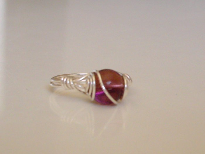 Amethyst and plated silver wire ring