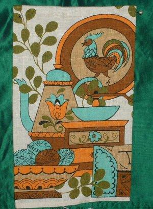Rooster Teapot Linen Tea towel