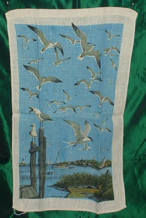 Linen Tea Towel Sailboat