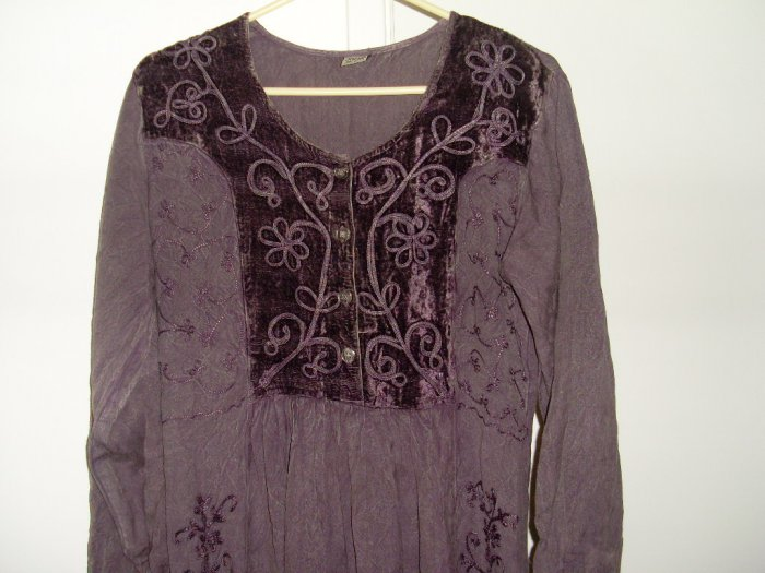 Embroidered unique purple dress