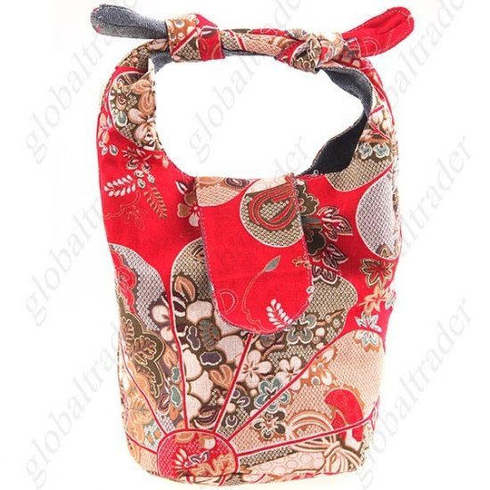 Theethical Style Ramie Cotton Handbag with Flower Prints FREE SHIPPING