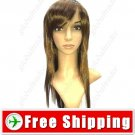 Long Synthetic Straight Hair Hairpiece Wig - Tilted Bangs Style