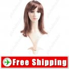 Synthetic Capless Natural Straight Wig - Swept Bangs Hairpiece