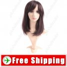 Synthetic Capless Shoulder Length Wig - Swept Bangs Hairpiece