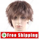 Synthetic Natural Short Straight Wig Stylish Streaks Hairpiece