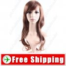 Stylish Women Wigs Long Curls Synthetic Fake Wavy Brown Hair