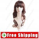 Long Synthetic Hair with Cut Layers Bang & Wavy Wig Hairpiece