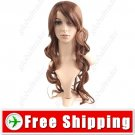 Synthetic Natural Long Wavy Curly Wig with Long Bangs Hairpiece