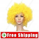 Synthetic Yellow Funky Unisex Short Costume Cosplay Wig Hairpiece