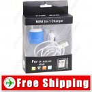 3-in-1 EU Adapter Mini Car Charger USB Cable for iPhone iPod iPad