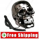 Novelty Human Head Skull Shape Telephone Silver FREE SHIPPING