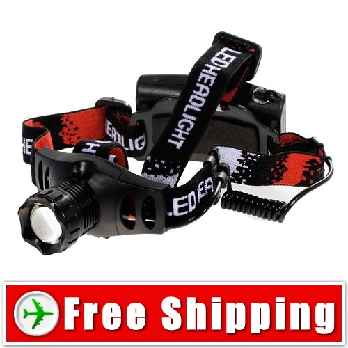 3 Mode LED Zoom Headlight Headlamp Torch Free Shipping