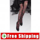 Pantyhose Stockings Black Color with Red Lip Printed FREE Shipping