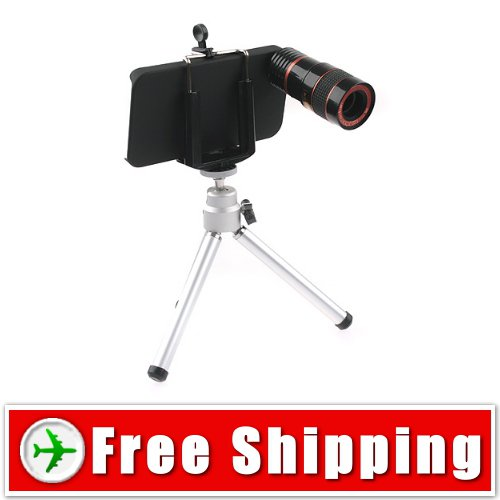 8X F1.1 Zoom Lens Telescope with Tripod for iPhone 4 FREE Shipping