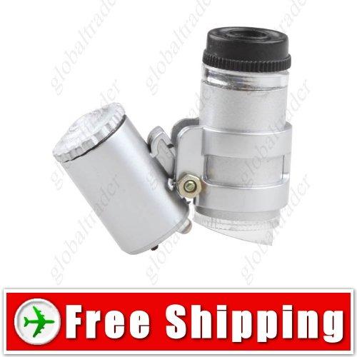 Mini Pocket 45X Lens Microscope Loupe Magnifier Glass FREE SHIPPING