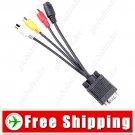 VGA SVGA Male to S-Video & RCA Composite AV Adapter Converter Cable