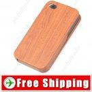 Flip-open Brown Wood Grain Texture Protective Case for iPhone 4 4S