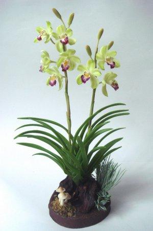 Green Cymbidium Orchid Home Decor Handmade Flower - Luna Clay