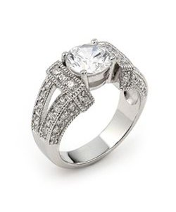 Round Cubic Zirconia Prong Set Engagement Ring