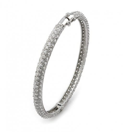 Fine Pave Cubic Zirconia Bangle - FREE SHIPPING