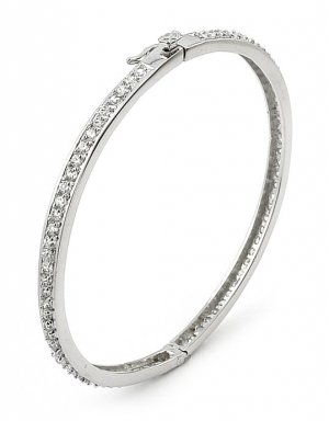 Pave 2mm Cubic Zirconia Bangle - FREE SHIPPING