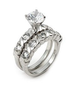 2ct Cubic Zirconia Center Stone Wedding Ring Set