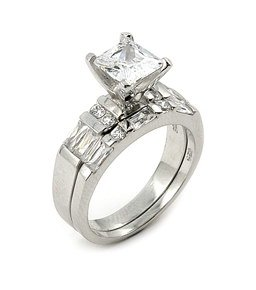 1.5ct CZ Wedding Set w/1.5ct Princess Cut Cubic Zirconia Stone