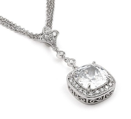 Cushion Cut CZ Multi Strand Necklace 20""