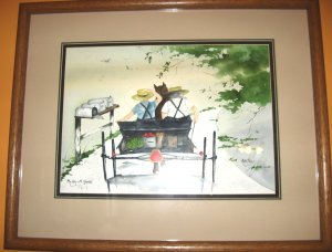 "Jan Danov Original Amish Watercolor FRAMED ""Day With Grandpa"""