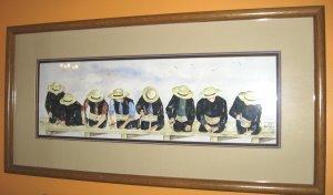 """Jan Danov Original Amish Watercolor FRAMED """"Hand N Hand"""""""