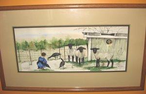 "Jan Danov Original Amish Watercolor FRAMED ""Suzy's Sheep"""