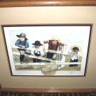 "Jan Danov Original Amish Watercolor FRAMED ""Taking A Look See"""