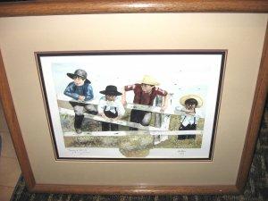 "Jan Danov Original Amish Watercolor FRAMED ""Taking A Look See"""