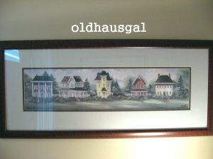 "Indiana Artist Linda Bennett ""VICTORIAN ROW HOMES"" Framed Signed/Numbered Print"